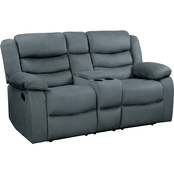 Homelegance Discus Double Reclining Loveseat with Center Console