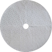 ICE Design Factory 48 in. Silver Star White Christmas Tree Skirt