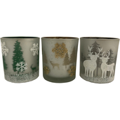 ICE Design Factory Christmas Scene Glass Votive Candle Holders, Set of 3