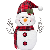 ICE Design Factory 13.5 in. Lighted Snowman Wearing Plaid Santa Hat Decor