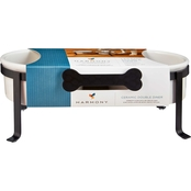 Harmony Iron Double Diner with Ceramic Dog Bowls