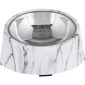 Harmony Slanted Marble Print Base and Stainless Steel Dog Bowl Set