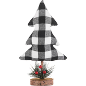 Gigi Seasons White Plaid Tabletop Tree
