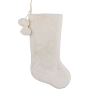 Gigi Seasons Luxe Ivory and White 20 in. Plush Stocking with Pom Poms