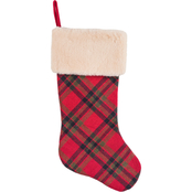 Gigi Seasons 20 in. Stocking, Plaid Wool with Plush Fur Cuff