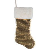 Gigi Seasons Reversible Sequin 20 in. Stocking with Plush Fur Cuff