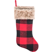 Gigi Seasons Buffalo Plaid 20 in. Stocking with Faux Fur