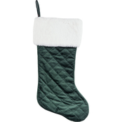 Gigi Seasons 20 in. Quilted Velvet Stocking with White Plush Cuff