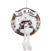 Gigi Seasons Snowman Rattan Wreath 13 in.