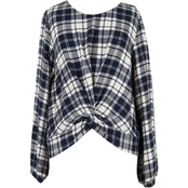 Speechless Girls Pucker Twist Plaid Top