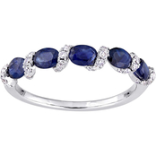 14K White Gold Oval Cut Sapphire and 1/4 CTW Diamond Semi Eternity Band