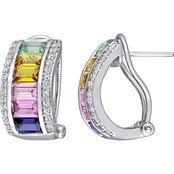 Sofia B. Sterling Silver Multicolor Created Sapphire Hoop Earrings