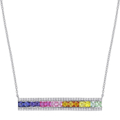 Sofia B. Sterling Silver Multicolor Created Sapphire Bar Necklace 18 in.