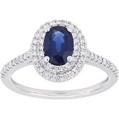 Sofia B. 14K White Gold Oval Cut Sapphire and 1/3 CTW Diamond Double Halo Ring