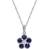Sofia B. 14K White Gold Sapphire and Diamond Accent Flower Pendant with Chain