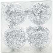 Gigi Seasons Shatter Resistant Clear Ornaments with Tinsel 4 pk.