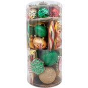 Gigi Seasons 62 ct. Assorted Shatter-Resistant Ornaments Tube Set