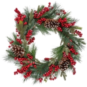 Gigi Seasons 24 in. Decorated Christmas Wreath Pine Cones and Berries