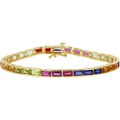 Yellow Gold Over Sterling Silver 10 3/4 CTW Multi Gemstone Tennis Bracelet