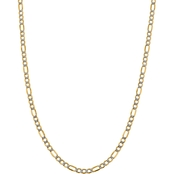 14K Yellow Gold 5.25mm Semi Solid Pave Figaro Chain 18 in.