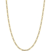 14K Yellow Gold 3.9mm Semi Solid Pave Figaro Chain 18 in.