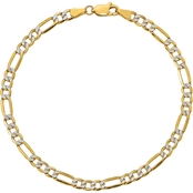 14K Yellow Gold 3.9mm Semi Solid Pave Figaro Chain 7 in.