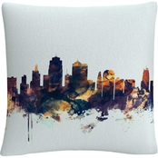 Trademark Fine Art Michael Tompsett 'Kansas City Skyline Blue' Decorative Pillow