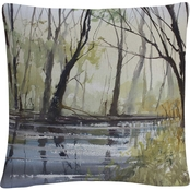 Ryan Radke 'Pine River Reflections' 16 in. x 16 in. Decorative Throw Pillow
