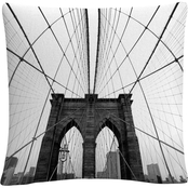 Nina Papiorek 'NYC Brooklyn Bridge' 16 in. x 16 in. Decorative Throw Pillow