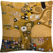 Trademark Fine Art Gustav Klimt Tree of Life Soclet Frieze 1905 Decorative Pillow