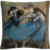 Edgar Degas 'Dancers in Blue 1890' 16 in.  x 16 in. Decorative Throw Pillow