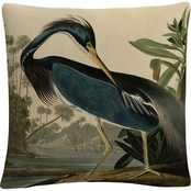 John James Audubon 'Louisiana Heron' 16 in.  x 16 in. Decorative Throw Pillow
