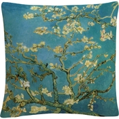 Vincent van Gogh 'Almond Branches In Bloom 1890' 16 x 16 Decorative Throw Pillow
