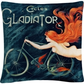 Georges Massias 'Cycles Gladiator' 16 in. x 16 in. Decorative Throw Pillow
