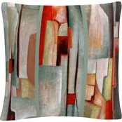 Joval 'Abstract Triptych' 16 in. x 16 in. Decorative Throw Pillow