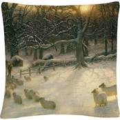 Joseph Farquharson 'The Shortening Winters Day' 16 x 16 Decorative Throw Pillow