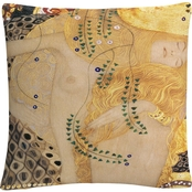 Gustav Klimt 'Water Serpents' 16 in. x 16 in. Decorative Throw Pillow