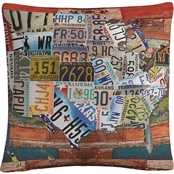 Trademark Fine Art Masters Fine Art 'USA License Plate on Colorful Wood' Pillow