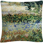 Trademark Fine Art Vincent Van Gogh Garden in Bloom 16 x 16 Decorative Throw Pillow