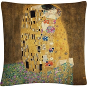 Gustav Klimt 'The Kiss 1907-8' 16 in. x 16 in. Decorative Throw Pillow