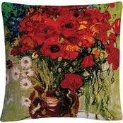 Trademark Fine Art Vincent van Gogh 'Daisies and Poppies' Decorative Throw Pillow