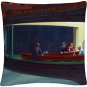 Trademark Fine Art Edward Hopper Nighthawks 16 x 16 in. Decorative Throw Pillow