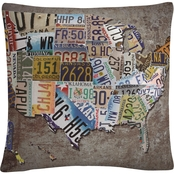 Trademark Fine Art Masters Fine Art 'USA License Plate Map on Metal' Throw Pillow