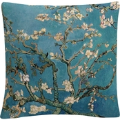 Trademark Fine Art Vincent van Gogh Almond Blossoms 16 x 16 Decorative Throw Pillow