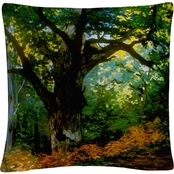 Trademark Fine Art Claude Monet Bodmer Oak, Fontainebleau Forest Throw Pillow