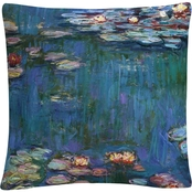 Trademark Fine Art Claude Monet Waterlilies Classic Decorative Throw Pillow