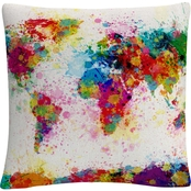 Trademark Fine Art Michael Tompsett 'Paint Splashes World Map' Decorative Pillow