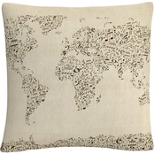Trademark Fine Art Michael Tompsett 'Music Note World Map' Decorative Throw Pillow