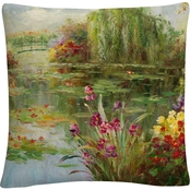 Trademark Fine Art Victor Giton Water Lilies 16 x 16 Decorative Throw Pillow