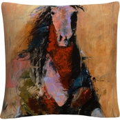 Trademark Fine Art Joarez 'Golden Horse' Decorative Throw Pillow